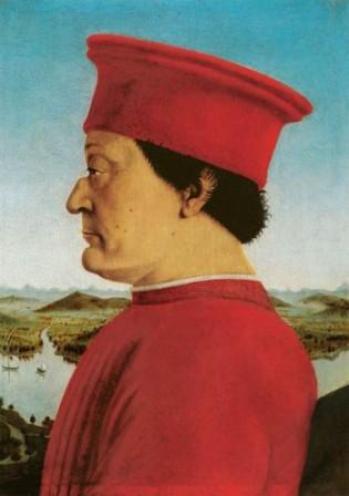הדוכס מאורבינו, בציור של פיירו דלה פרנצ'סקה, לבש ארגמן כסמל לכוח