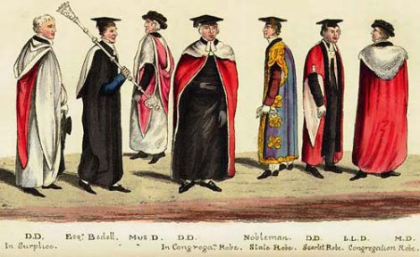 Academic dress at Cambridge, from Gradus ad Cantabrigiam.  Printed for John Hearne by J.F. Dove, London, 1824.