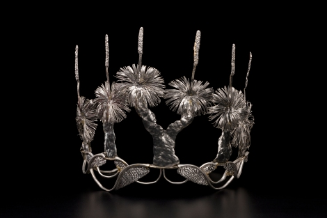 'Tiara', aluminium, tin, by Fiona Hall, Sydney, Australia, early 1990s shot in the Powerhouse Museum Photography Studio on 10th February 2014 by Geoff Friend for the 'Jewellery in Australia' exhibition.