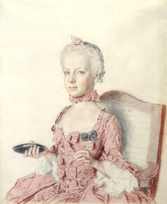 The Archduchess Marie-Antoinette of Austria (1755Ð1793) (LÕarchiduchesse Marie-Antoinette dÕAutriche), 1762 Black chalk, graphite pencil, watercolor, and pastel on very thin white laid paper 31.1 x 24.9 cm. MusŽes dÕart et dÕhistoire, Geneva