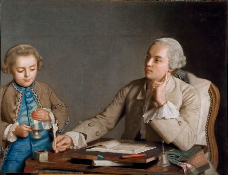 Jean-Etienne Liotard, L'Ecriture, 1752 Pastel on six sheets of blue paper, 81 x 107 cm Kunsthistorisches Museum, Vienna Photo (c) SchloB Sch??nbrunn Kultur- und Betriebsges.m.b.H. Photography: Edgar Knaack