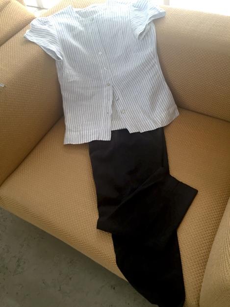 מכנסי כותנה כחולים אא 100% כותנה עם חולצת פשתן\ מהגארדרובה של נעמי