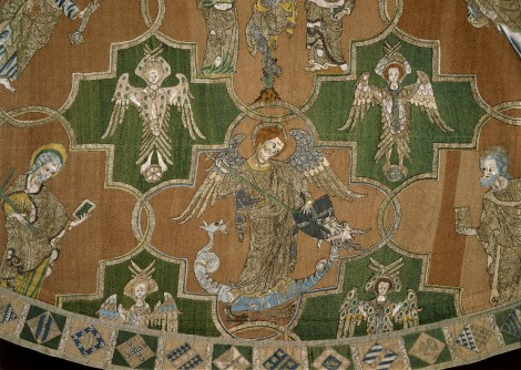 83-1864 The Syon Cope; embroidered in coloured silks & silver-gilt thread with the Figures of Christ, The Virgin Mary & The Apostles; detail; English (Opus Anglitareum); Early 14th century.