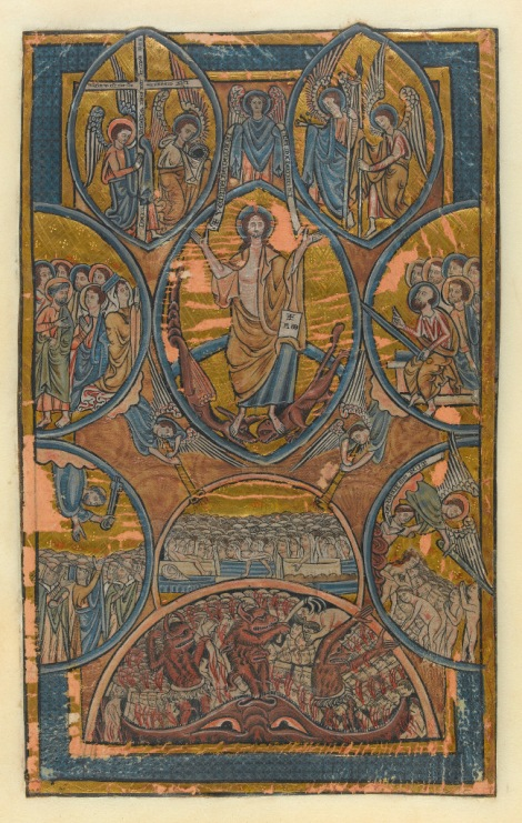 lluminated manuscript. Psalter. William de Brailes (French). 7 surviving leaves from a psalter completed in Oxford, England, ca. 1240. Titles: Fall of the Rebel Angels, Scenes from Adam, Eve, Cain and Abel, Last Judgement, Wheel of Fortune, Christ and David, and Tree of Jesse.